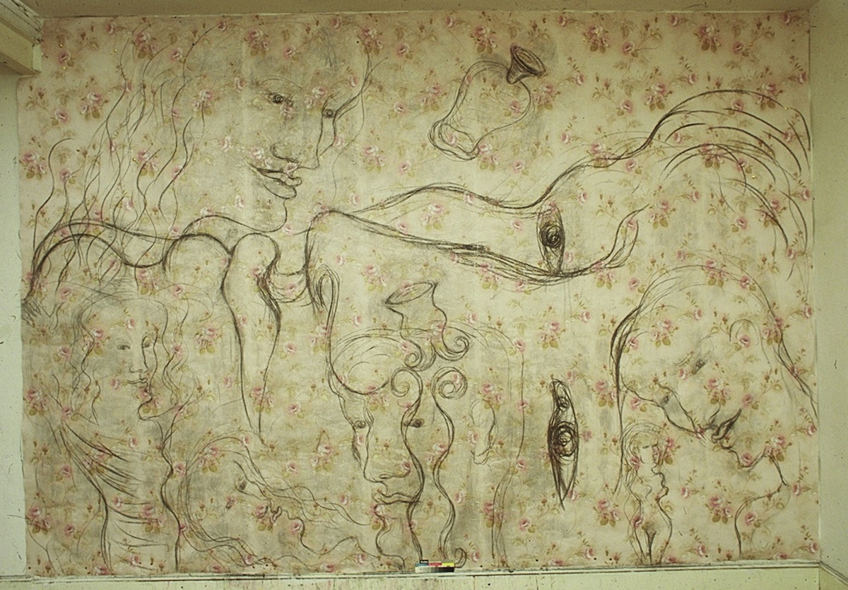 A Bed Of Roses 1985 ICA Gallery - 280 x 340cm - charcoal on embossed wallpaper.