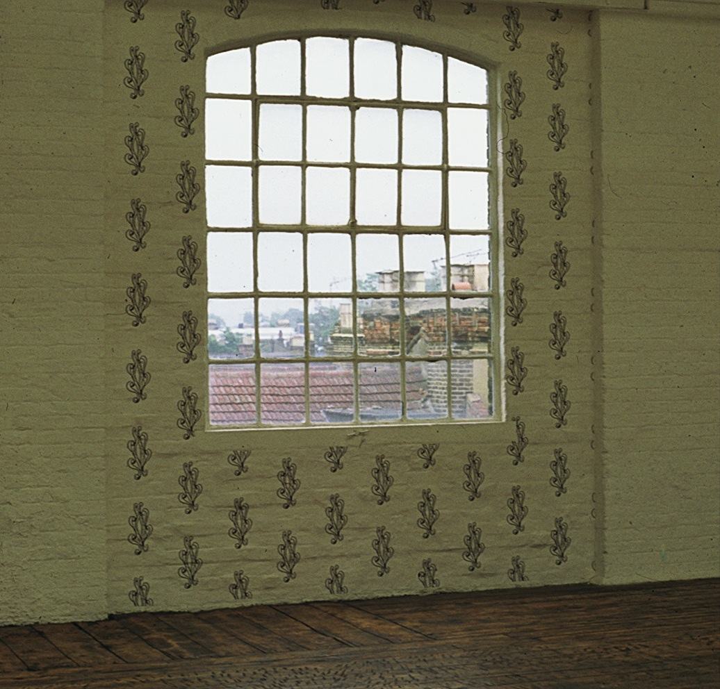 Unit 7 Window 1989 - Xeroxes on brick wall.