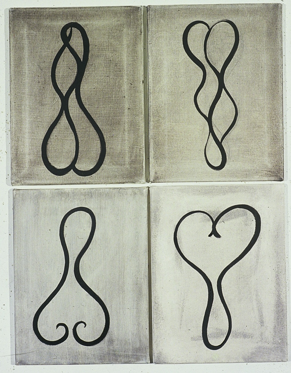 Shape Paintings 1989 - 41 x 30cm each - oil on lead primer on canvas.