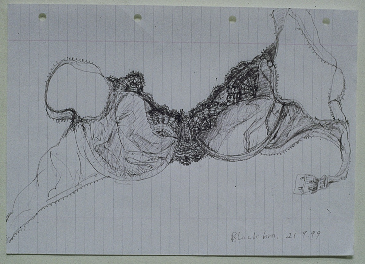 Black Bra 1999 - 21 x 30cm - biro on lined paper.