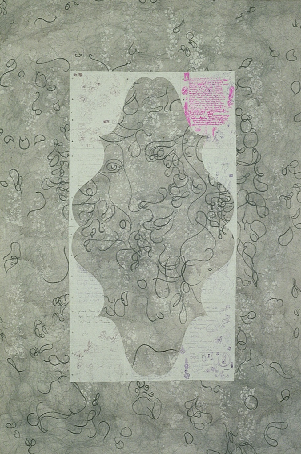 Grey With Face 1999 - 178 x 141cm - gesso, graphite, acrylic, paper on canvas.