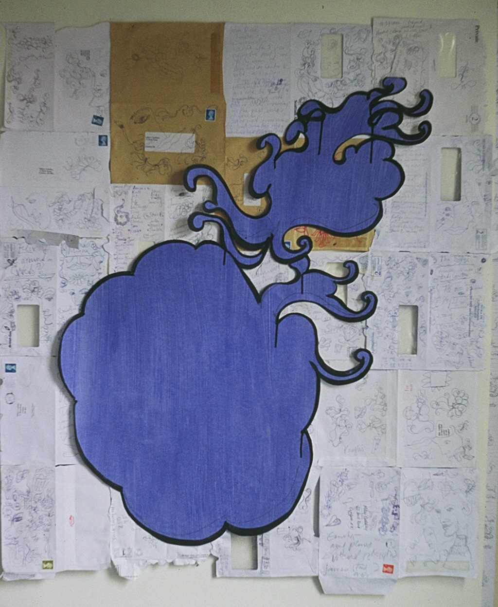 Big Blue Shape 2004  - painted paper on envelopes.