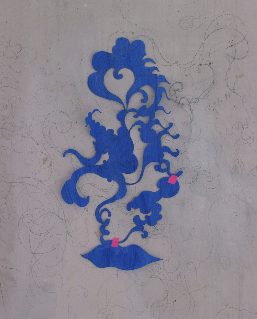 Blue Lips 2007 - acrylic on paper cut out.