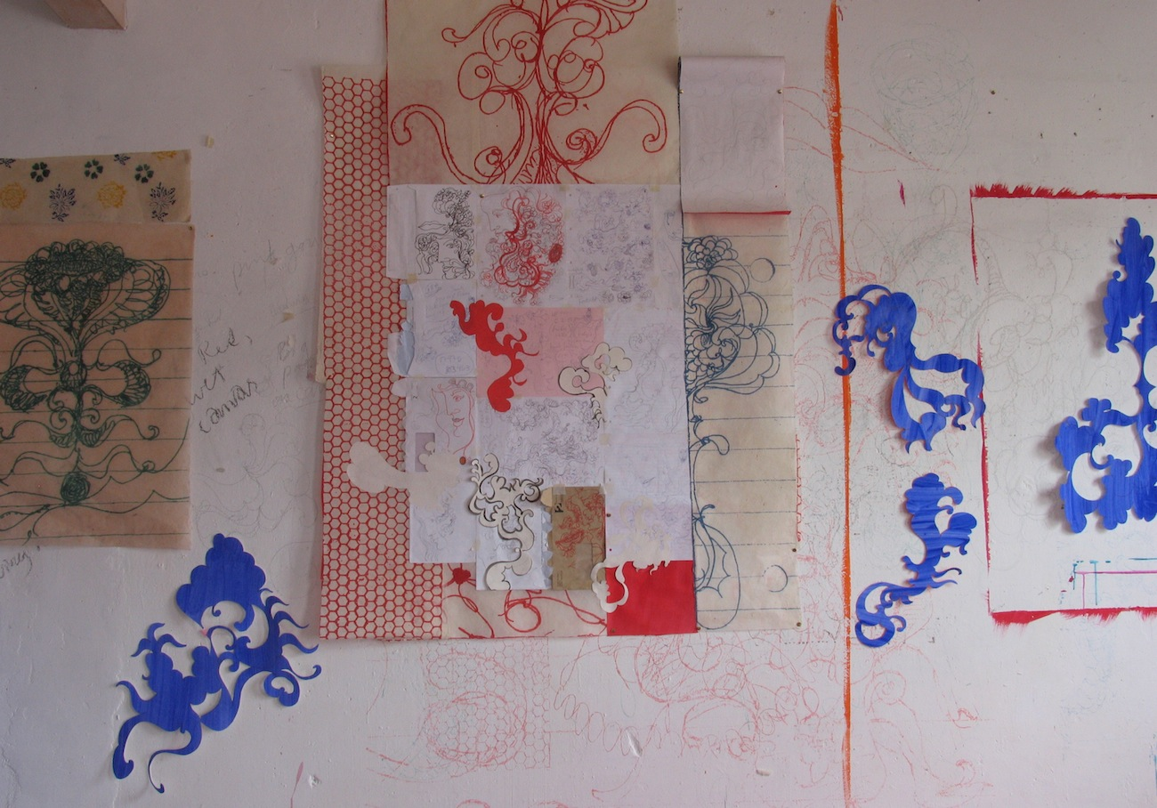 Studio Installation 2008 - painted paper, collage, envelopes.