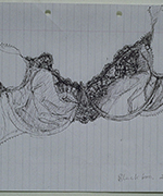 Black Bra 1999 - Biro On Lined Paper